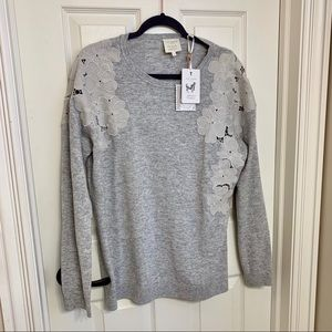 NWT Ted Baker gray appliqué sweater top